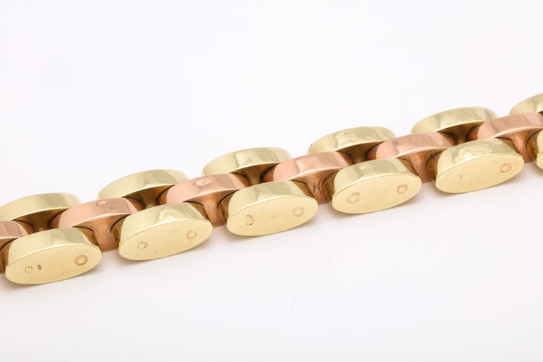 Retro Tank Bracelet in Two Color Gold  For Sale 1