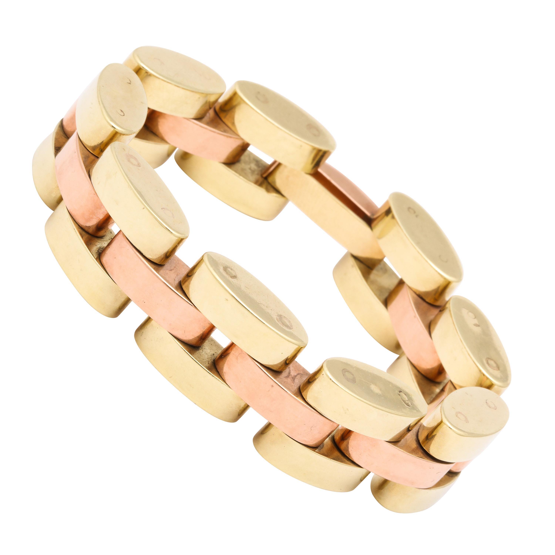 Retro Tank Bracelet in Two Color Gold