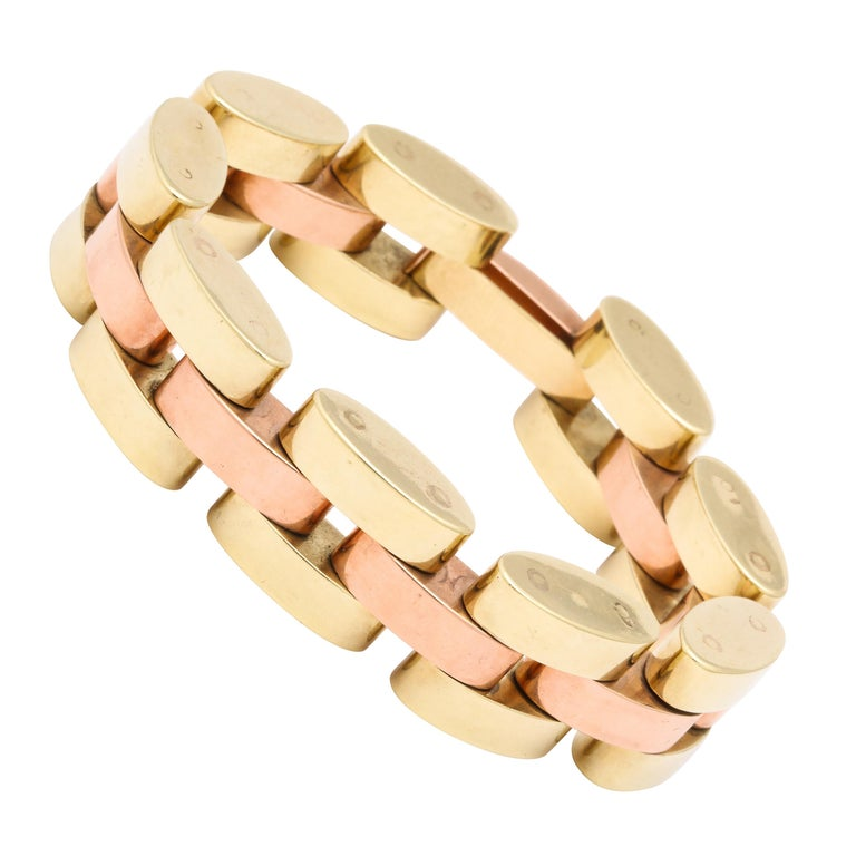 Retro Tank Bracelet in Two Color Gold  For Sale