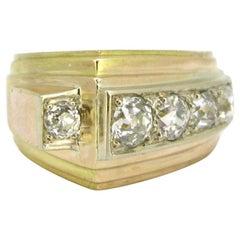 Retro Tank Diamonds Ring, 18 Karat Gold and Platinum, circa 1940