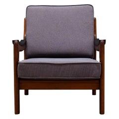 Retro Teak Grey Armchair Danish Design, 1970s