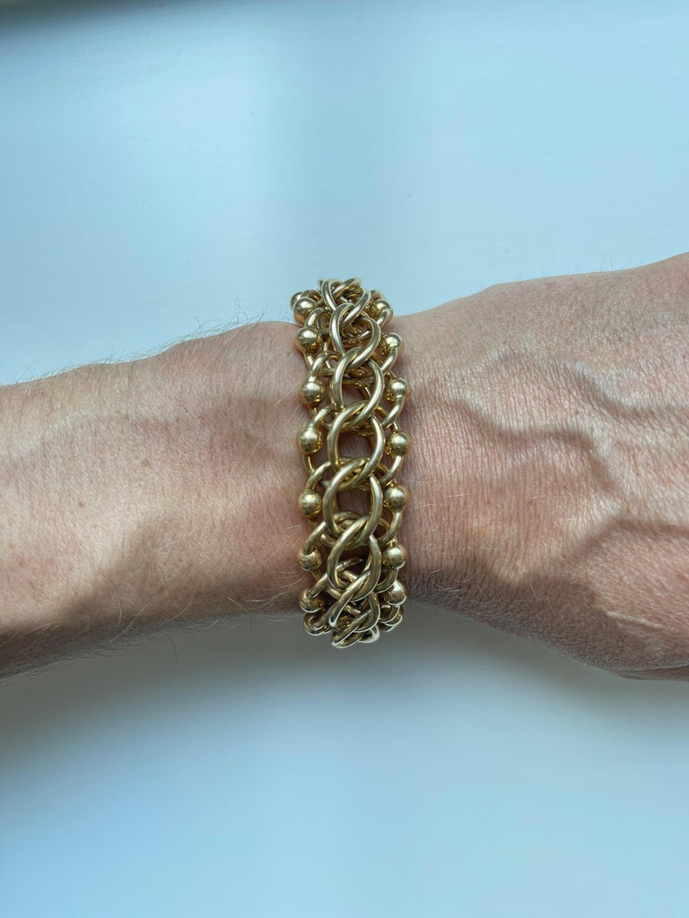 Women's or Men's Retro Tiffany & Co. 14 Kt Yellow Gold Bracelet For Sale