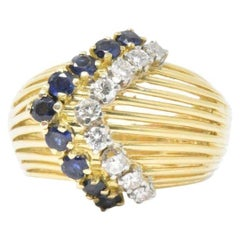 Retro Tiffany & Co. 0.35 Carat Diamond Sapphire and 18 Karat Gold Ring
