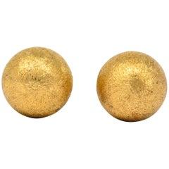 Retro Tiffany & Co. 14 Karat Gold Brushed Ball Men's Cufflinks