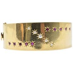 Retro Tiffany & Co. .75 Carat Diamond, Ruby and 14 Karat Gold Bangle Bracelet