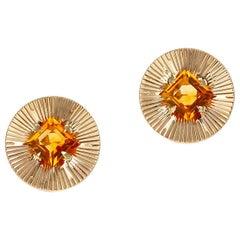 Retro Tiffany & Co. Citrine Earrings 14 Karat Yellow Gold