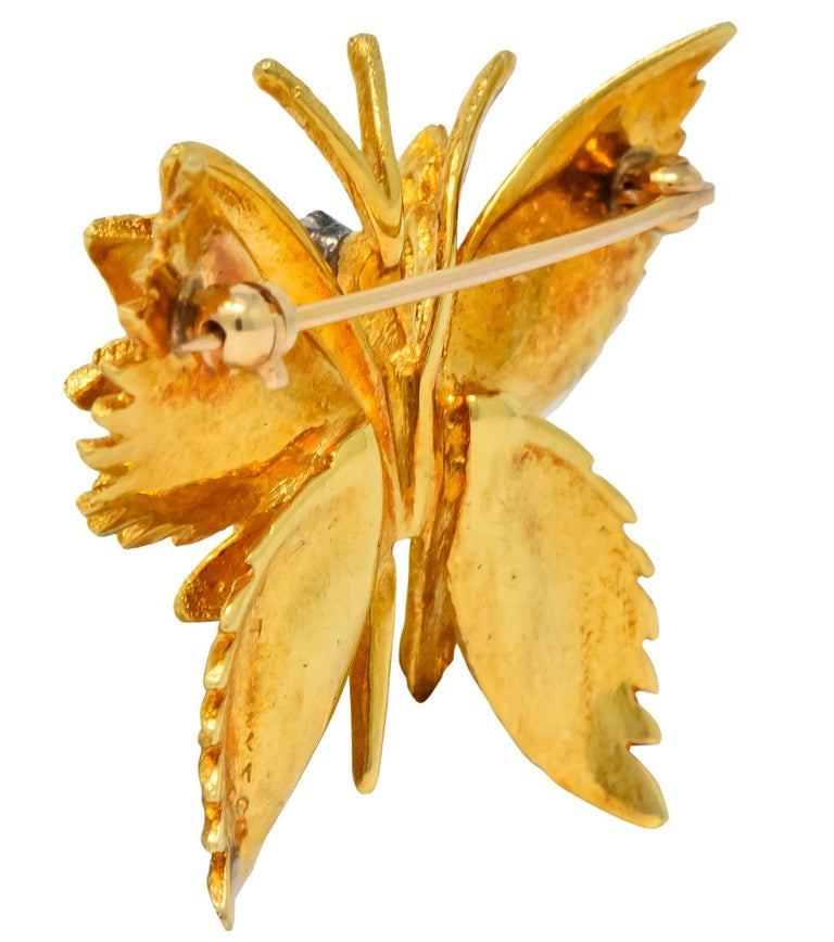 Retro Tiffany & Co. Diamond 18 Karat Gold Butterfly Brooch In Excellent Condition For Sale In Philadelphia, PA