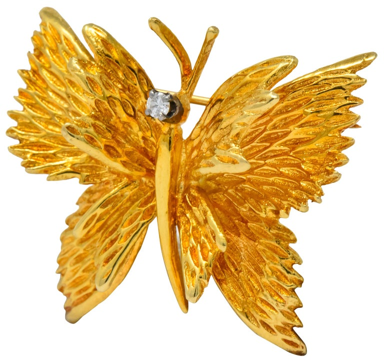 Women's or Men's Retro Tiffany & Co. Diamond 18 Karat Gold Butterfly Brooch For Sale
