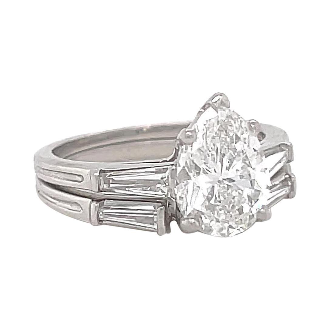 Retro Tiffany & Co. GIA 1.46 Carat Diamond Platinum Engagement Ring Set