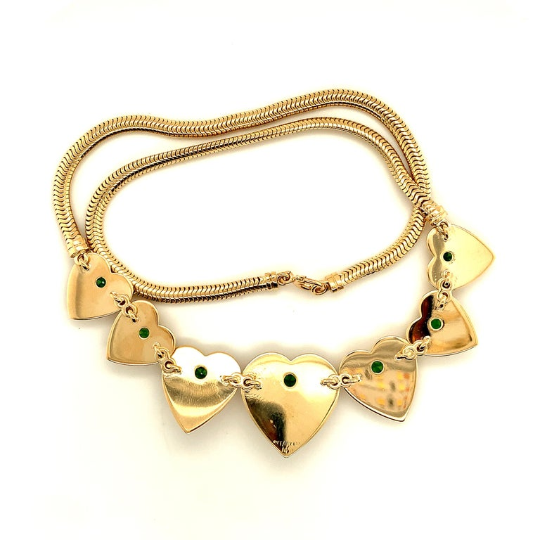 Retro Tiffany & Co. Heart & Green Garnet Necklace In Excellent Condition For Sale In New York, NY