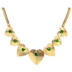 Retro Tiffany & Co. Heart & Green Garnet Necklace