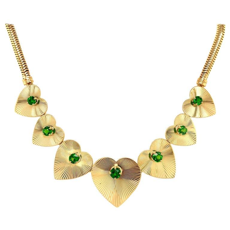 Retro Tiffany & Co. Heart & Green Garnet Necklace For Sale
