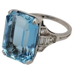 Retro Tiffany & Co. Platinum Aquamarine and Diamond Ring
