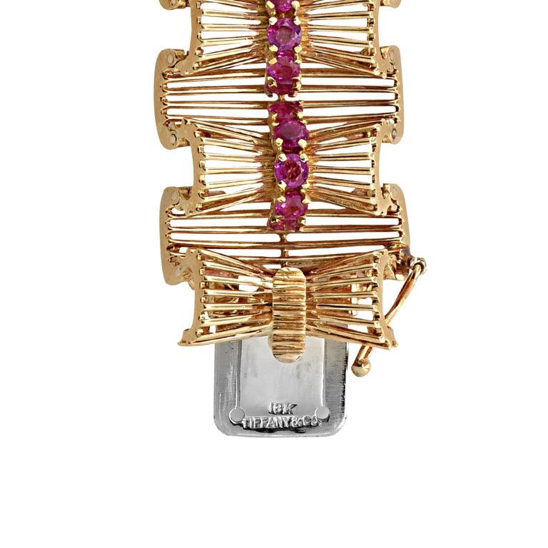 Round Cut Retro Tiffany & Co. Ruby Bracelet For Sale
