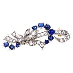 Retro Tiffany & Co. Sapphire Diamond 18 Karat Gold Brooch
