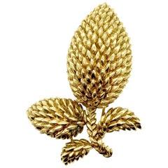 Retro Tiffany & Co. Textured Gold Leaf Brooch