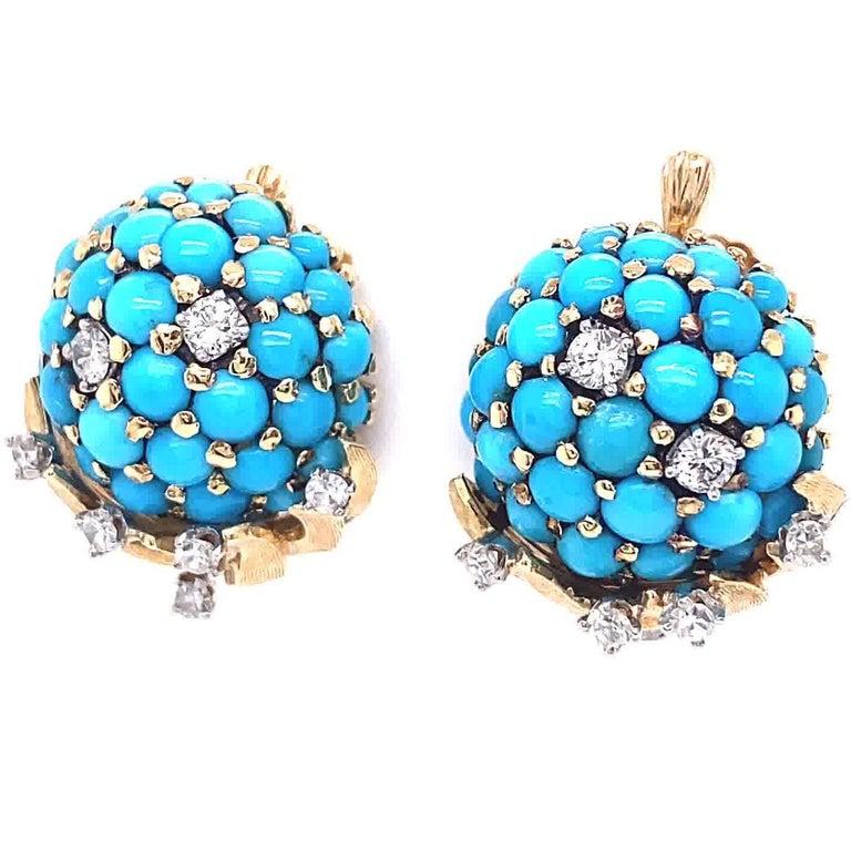 Women's Retro Tiffany & Co. Turquoise Diamond Gold Screwback Ear Clips For Sale