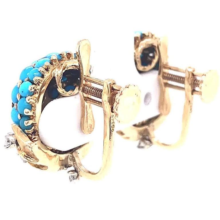 Retro Tiffany & Co. Turquoise Diamond Gold Screwback Ear Clips For Sale 1