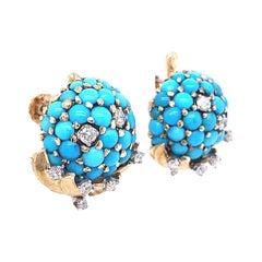 Retro Tiffany & Co. Turquoise Diamond Gold Screwback Ear Clips