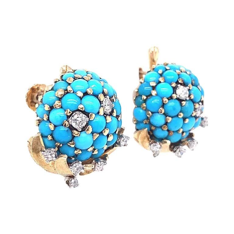Retro Tiffany & Co. Turquoise Diamond Gold Screwback Ear Clips For Sale