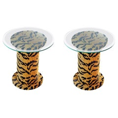 Retro Tiger Fabric Pedestal Glass Top Side Tables