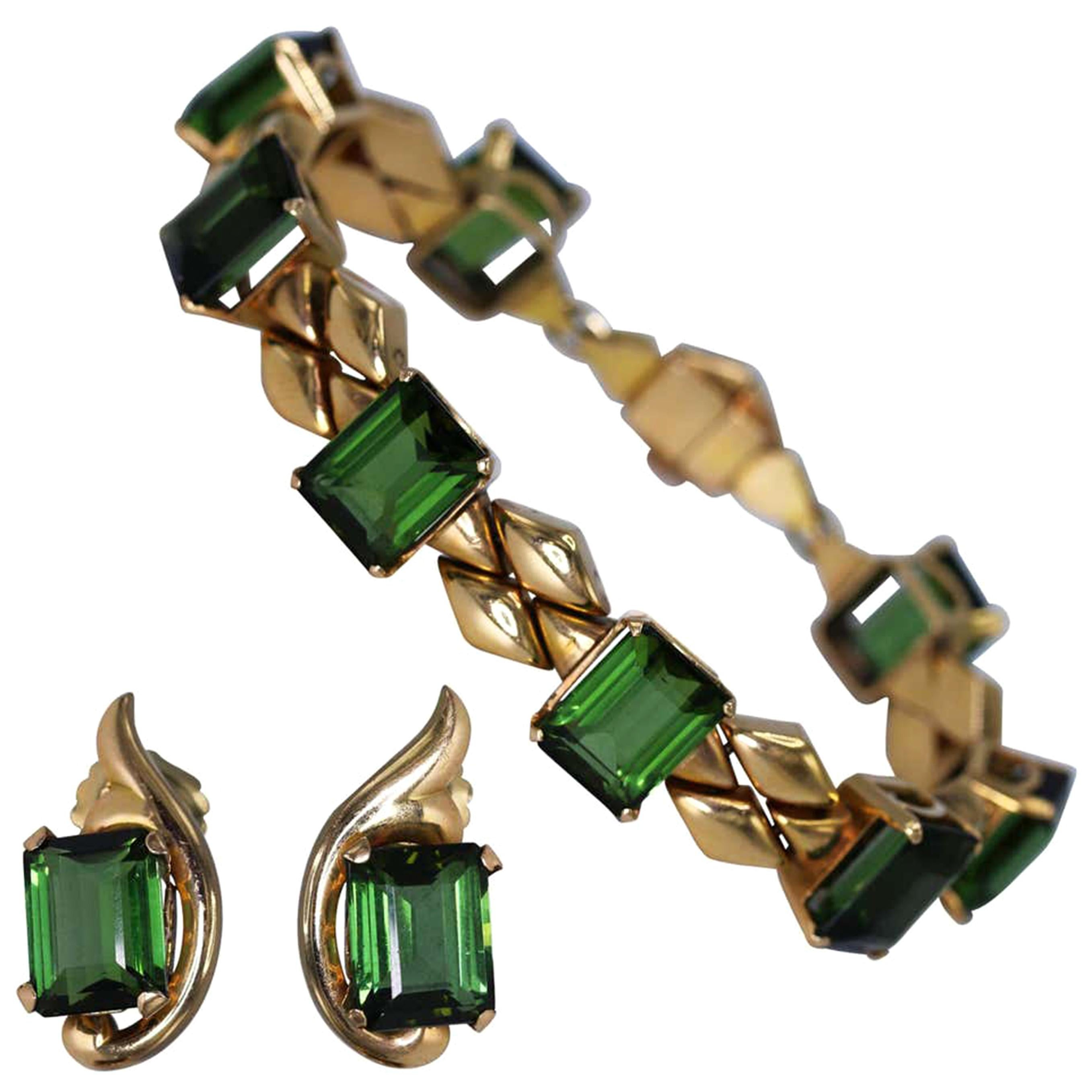 Retro Tourmaline and Pink Gold Bracelet and Earrings
