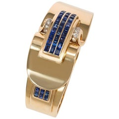 Retro Trabert and Hoeffer Mauboussin Gold and Sapphire Covered Bracelet Watch