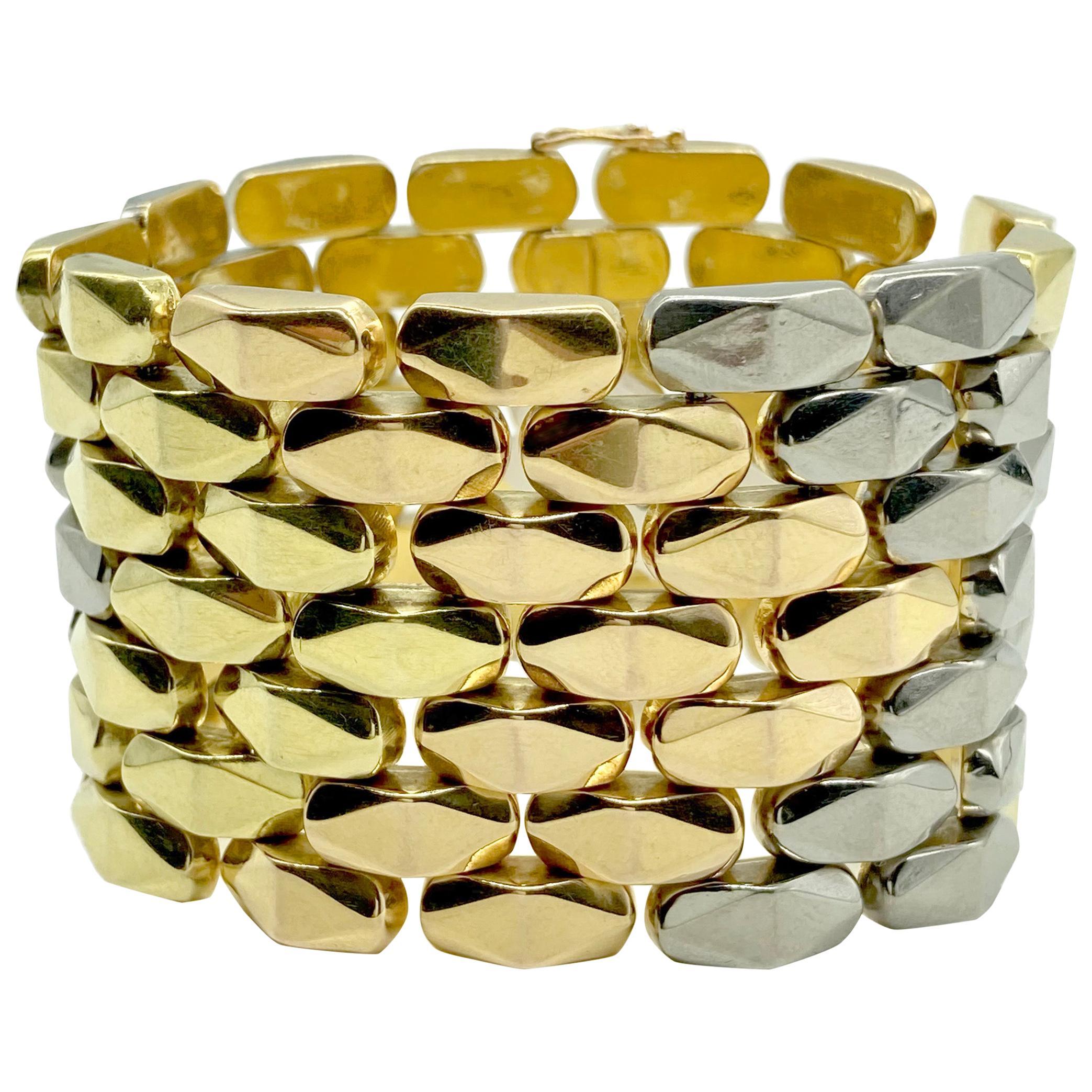 Retro Tri-Color 18 Karat Gold Link Bracelet
