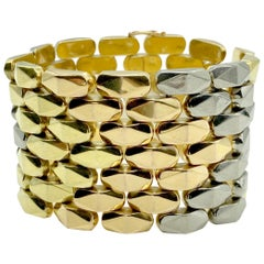Retro Tri-Color 18 Karat Gold Link Bracelet