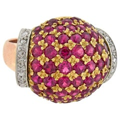 Retro Tri-Color 3.00 Carat Ruby and Diamond Domed Bombé Ring