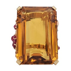 Retro Tri-Color Gold 57.86 Carat Citrine and Ruby Stone Cocktail Ring