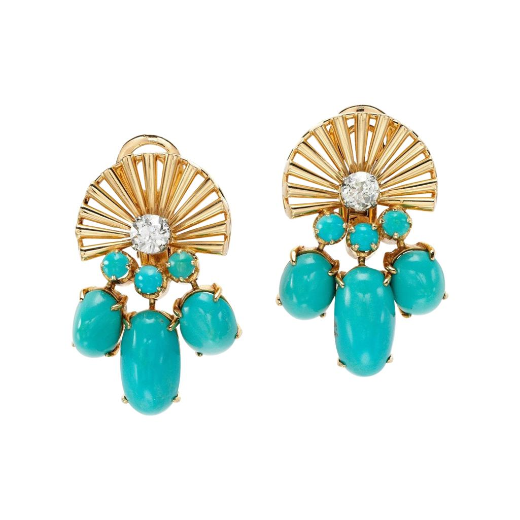 Retro Turquoise and Diamond Ear Clips