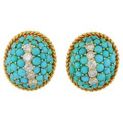 Retro Turquoise Petit Point Dome Earrings