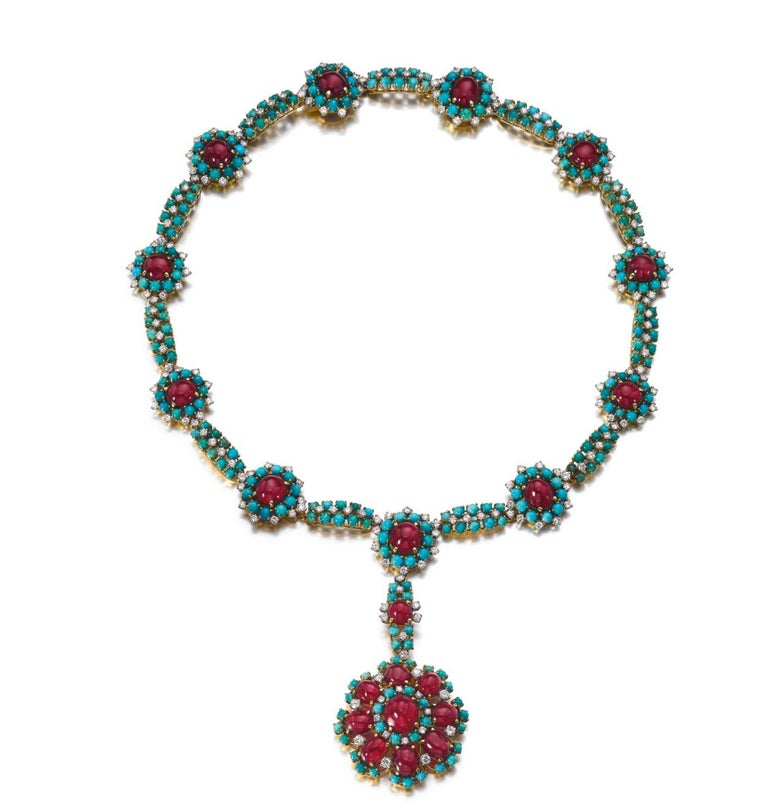 Cabochon Retro Turquoise Ruby and Diamond Flower Necklace For Sale