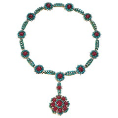 Retro Turquoise Ruby and Diamond Flower Necklace