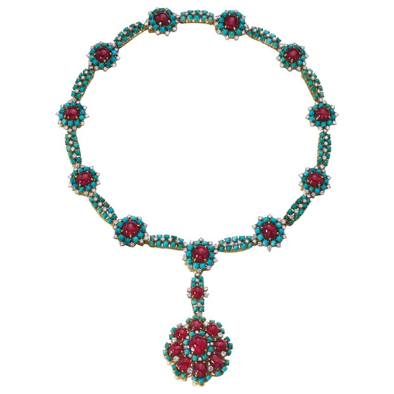 Retro Turquoise Ruby and Diamond Flower Necklace For Sale