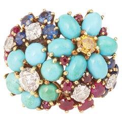 Retro Turquoise Ruby Sapphire Yellow White Diamonds 18 Carats Yellow Gold Ring
