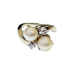 Retro Twin Pearl and Diamond Ring
