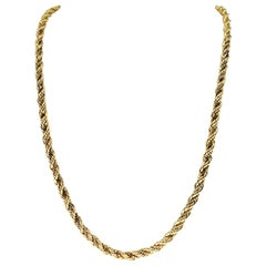 Retro Twisted Rope Double Mixed Link Rare Chain 14 Karat Gold