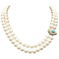 Retro Two Strand Pearl Necklace with Turquoise and 14 Karat Gold Clasp