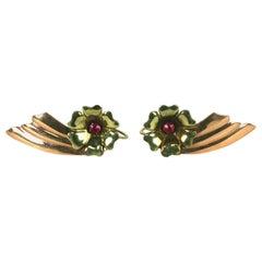 Retro Two Toned 14k Wing Earrings
