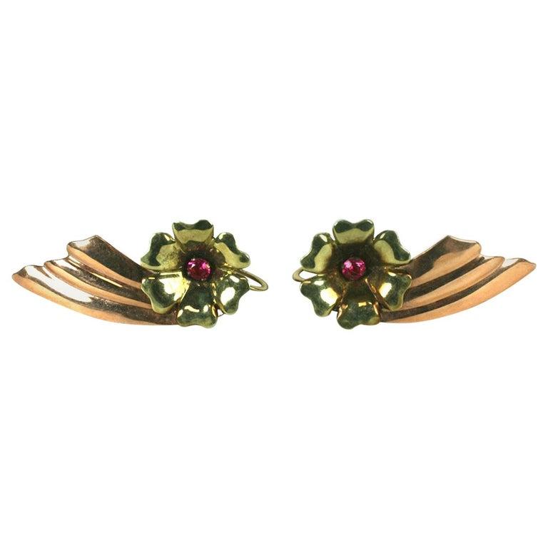 Retro Two Toned 14k Wing Earrings For Sale