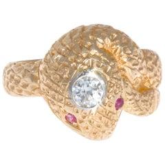 Retro Victorian Style 14 Karat Gold Snake Ring