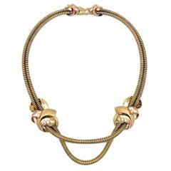 Retro Vienna Demi Parure Yellow Rose Gold Necklace Bracelet