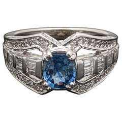 Retro Vintage 14 Karat White Gold Blue Sapphire and Diamonds Ring