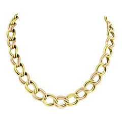 Retro Vintage 14k Rose & Green Gold Dual Cable Link Choker Chain Necklace