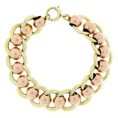 Retro Vintage 14k Rose Green Gold Wide Ball & Flat Cable Link Chain Bracelet