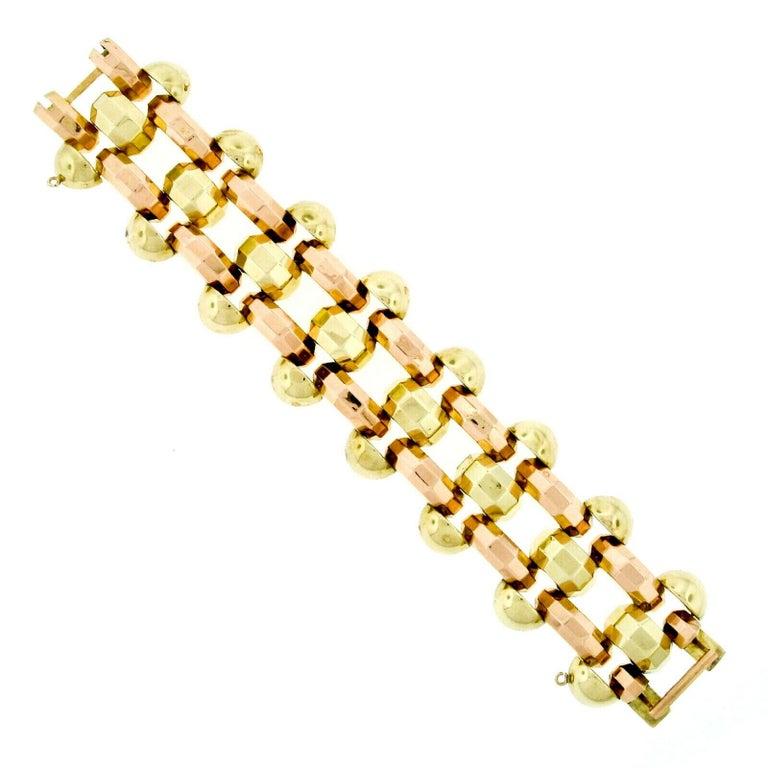 Retro Vintage 1940's 14k Green & Rose Gold Open Faceted Link Bracelet In Good Condition For Sale In Montclair, NJ