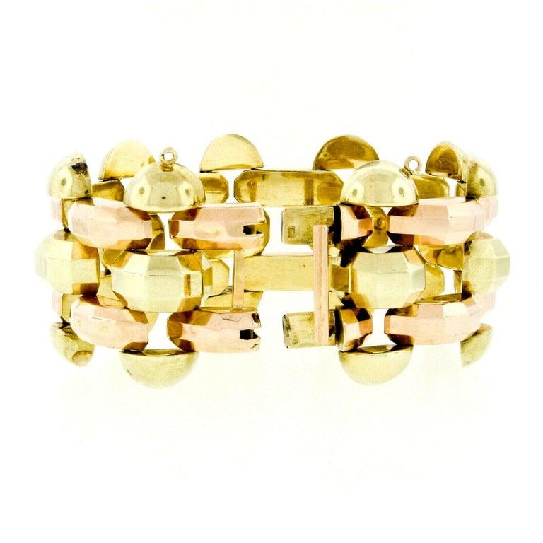 Retro Vintage 1940's 14k Green & Rose Gold Open Faceted Link Bracelet For Sale 2