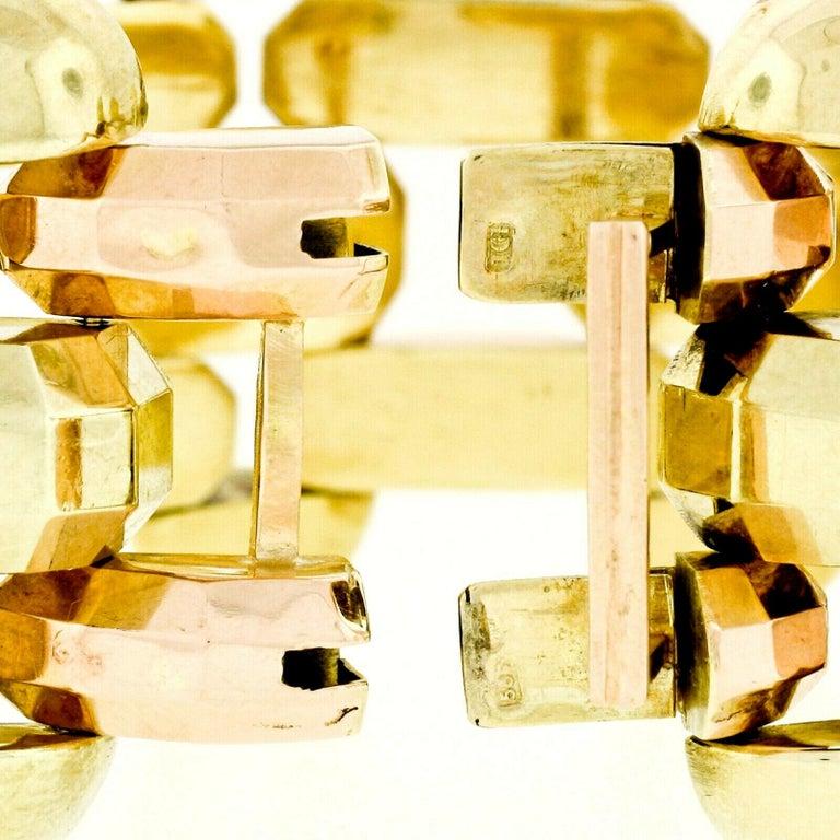 Retro Vintage 1940's 14k Green & Rose Gold Open Faceted Link Bracelet For Sale 3